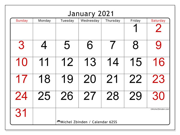 Printable calendar, January 2021, 62SS