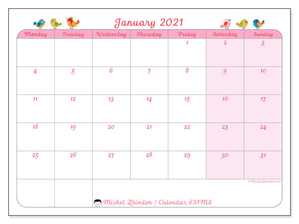 Printable calendar, January 2021, 631MS