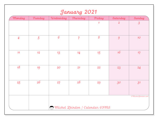 Printable calendar, January 2021, 63MS