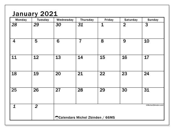 January 2021 Calendar, 66MS. Free calendar to print.
