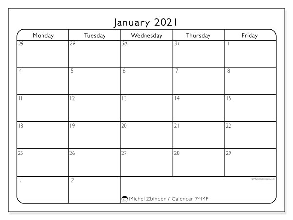 Printable calendar, January 2021, 74SS