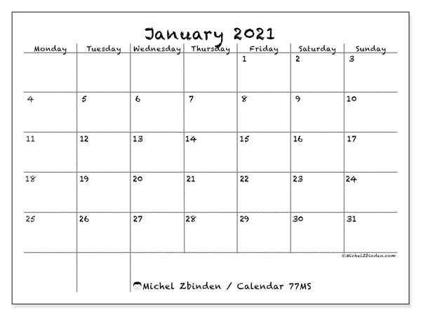 Printable calendar, January 2021, 77MS