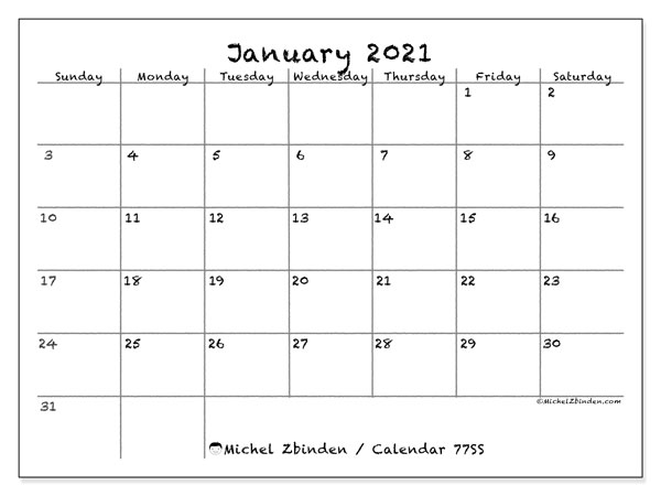 Printable calendar, January 2021, 77SS