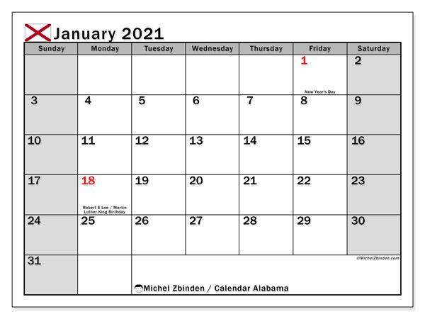 January 2021 Calendar, with the holidays of Alabama. Holidays calendar to print free.