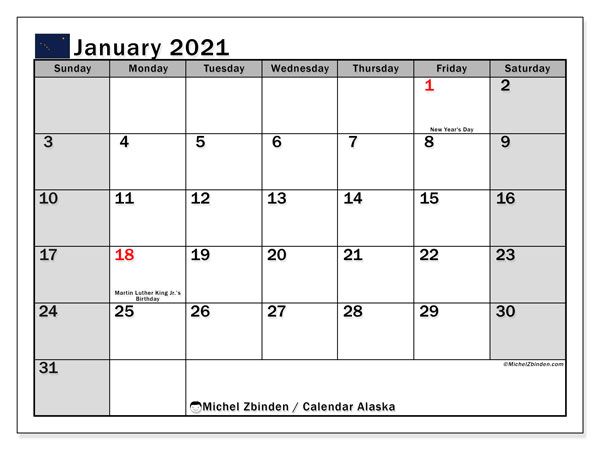 January 2021 Calendar, with the holidays of Alaska. Holidays calendar to print free.