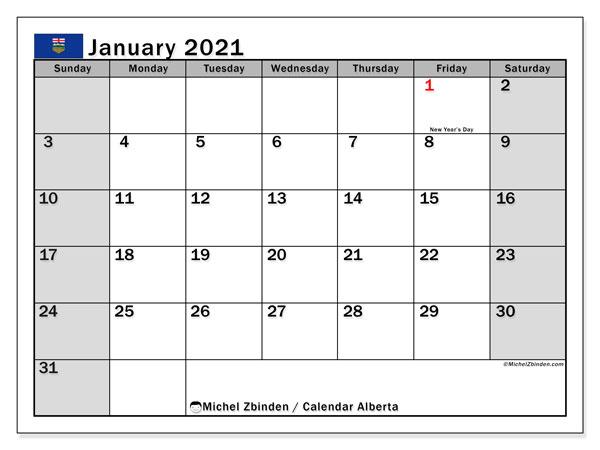 January 2021 Calendar, with the holidays of Alberta. Holidays calendar to print free.