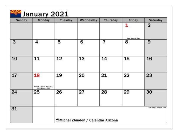 January 2021 Calendar, with the holidays of Arizona. Holidays calendar to print free.