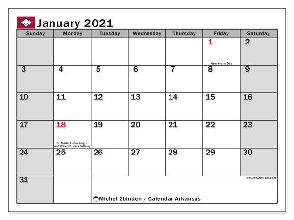 January 2021 Calendar, with the holidays of Arkansas. Holidays calendar to print free.