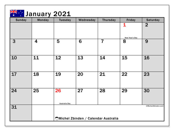 Printable January 2021 Calendar, Australia (SS)
