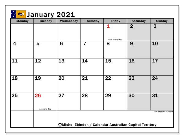 January 2021 Calendar, with the holidays of Australian Capital Territory. Holidays calendar to print free.