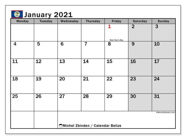 Printable January 2021 Calendar, Belize