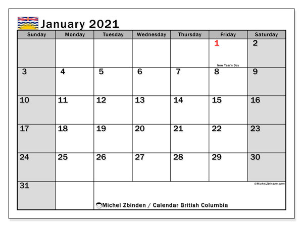 January 2021 Calendar, with the holidays of British Columbia. Holidays calendar to print free.