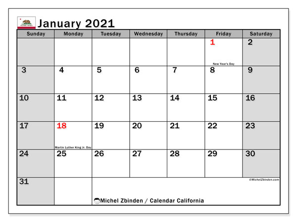 Calendar January 2021 - California. Public Holidays. Monthly Calendar and free bullet journal to print.