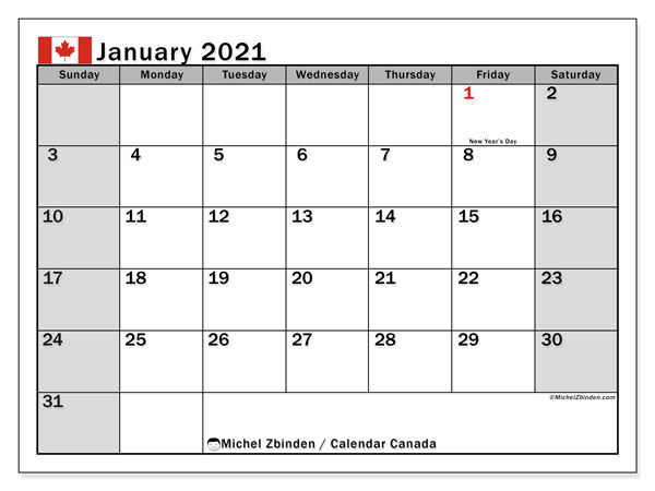 Printable calendars, January 2021, Public Holidays