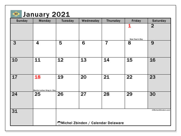 January 2021 Calendar, with the holidays of Delaware. Holidays calendar to print free.