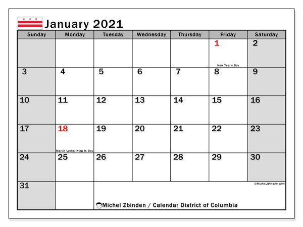 "Calendar ""District of Columbia"" with public holidays, January 2021, ready to print."