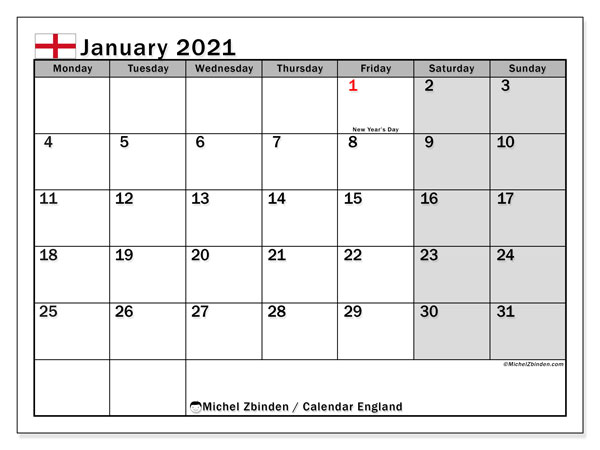 "Printable ""England"" calendar with public holidays. Monthly January 2021 calendar and timetable to print free."