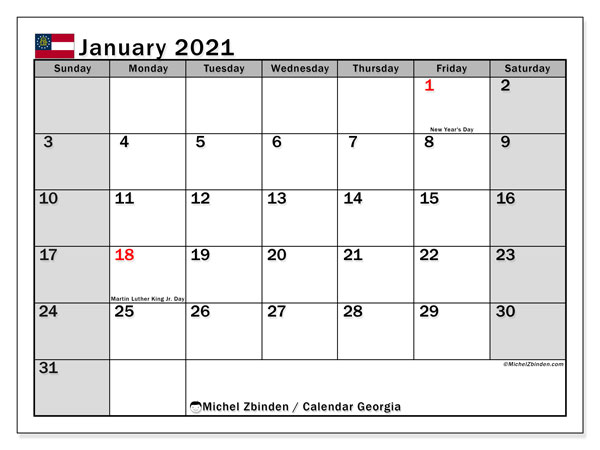 "Printable ""Georgia"" calendar with public holidays. Monthly January 2021 calendar and free agenda to print."