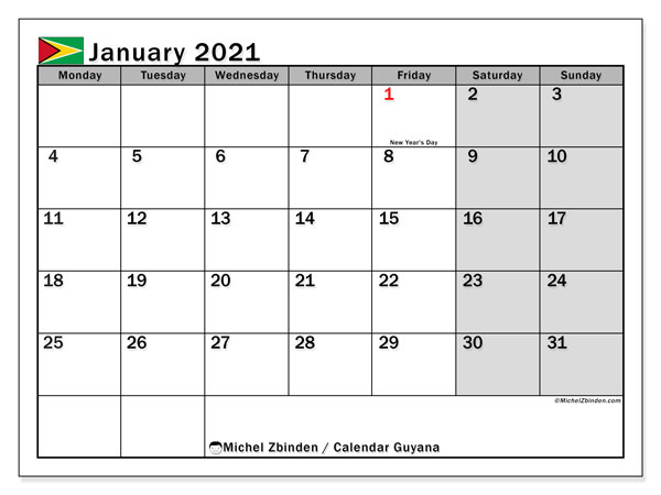 Printable January 2021 Calendar, Guyana