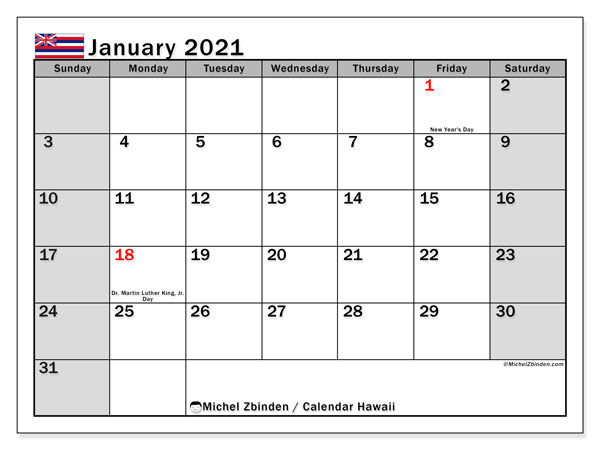 Calendar January 2021 - Hawaii. Public Holidays. Monthly Calendar and free printable bullet journal.