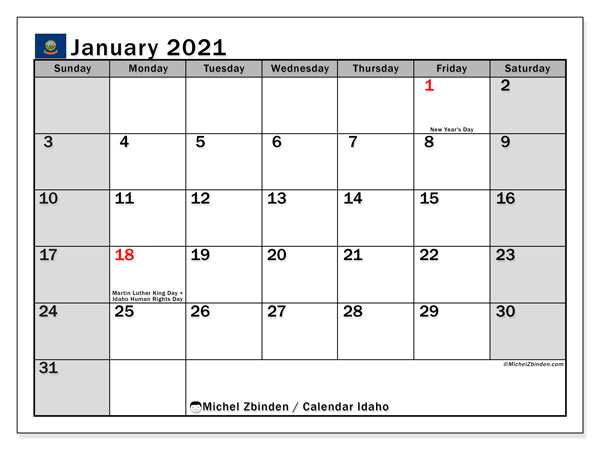 January 2021 Calendar, with the holidays of Idaho. Holidays calendar to print free.