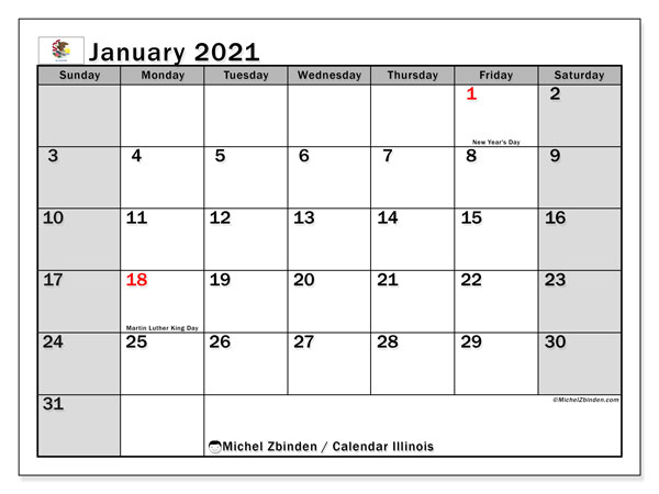 January 2021 Calendar, with the holidays of Illinois. Free printable calendar with public holidays.