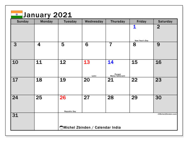Printable January 2021 Calendar, India (SS)
