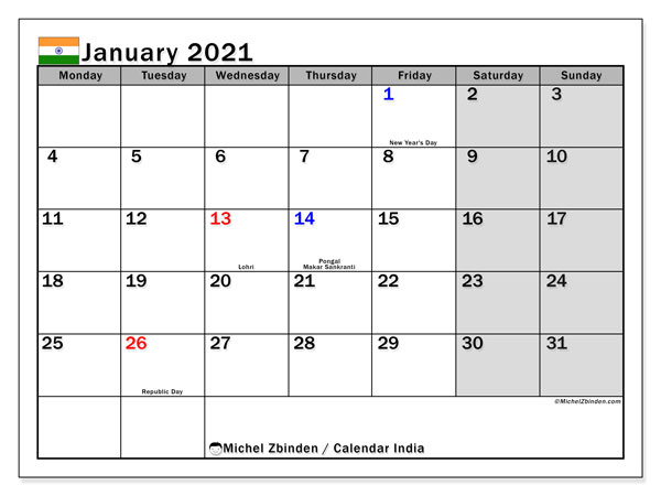 Printable January 2021 Calendar, India (MS)