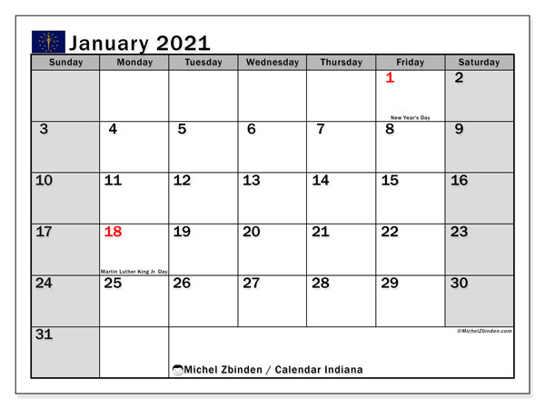January 2021 Calendar, with the holidays of Indiana. Holidays calendar to print free.