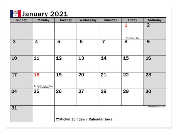 January 2021 Calendar, with the holidays of Iowa. Free printable calendar with public holidays.