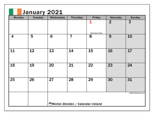 January 2021 Calendar, with the holidays of Ireland. Free printable calendar with public holidays.