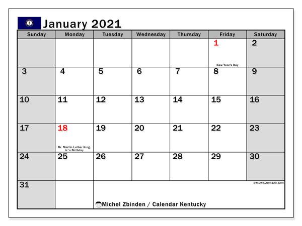January 2021 Calendar, with the holidays of Kentucky. Holidays calendar to print free.