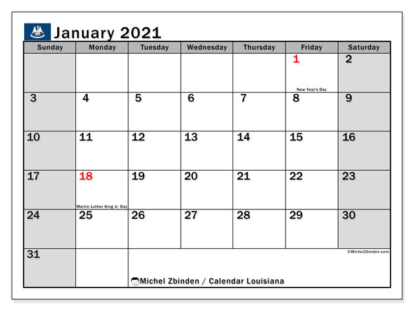 January 2021 Calendar, with the holidays of Louisiana. Holidays calendar to print free.
