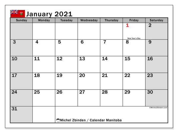January 2021 Calendar, with the holidays of Manitoba. Holidays calendar to print free.