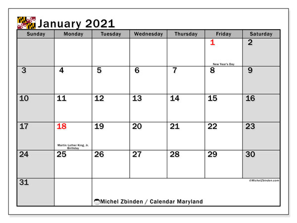 January 2021 Calendar, with the holidays of Maryland. Holidays calendar to print free.