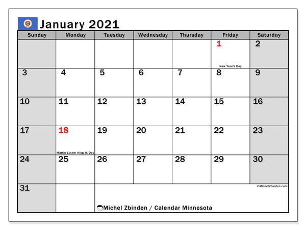 January 2021 Calendar, with the holidays of Minnesota. Free printable calendar with public holidays.