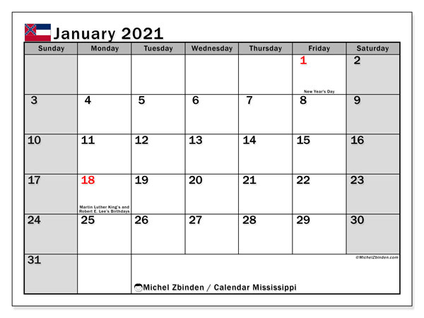 January 2021 Calendar, with the Mississippi holidays. Free printable calendar with public holidays.