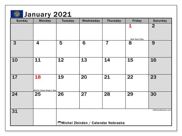 January 2021 Calendar, with the holidays of Nebraska. Free printable calendar with public holidays.