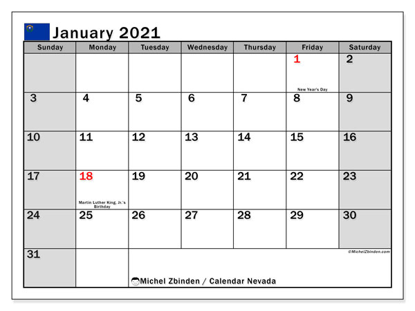 January 2021 Calendar, with the holidays of Nevada. Holidays calendar to print free.