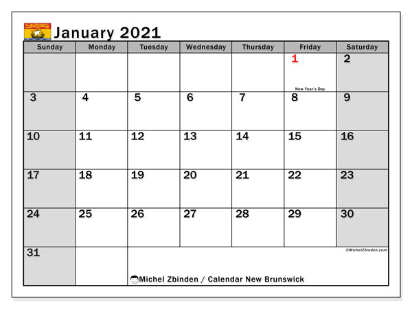January 2021 Calendar, with the holidays of New Brunswick. Free printable calendar with public holidays.
