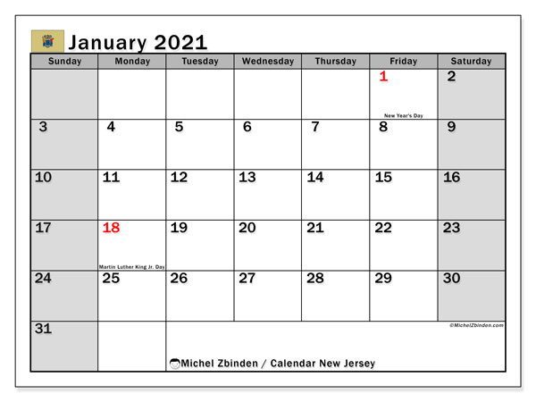 January 2021 Calendar, with the holidays of New Jersey. Holidays calendar to print free.