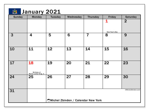 Calendar January 2021 - New York. Public Holidays. Monthly Calendar and free schedule to print.