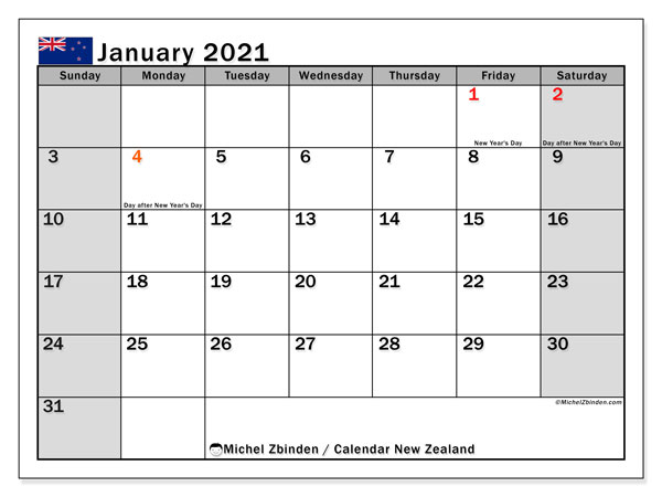 Printable January 2021 Calendar, New Zealand (SS)