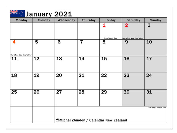 Printable January 2021 Calendar, New Zealand (MS)