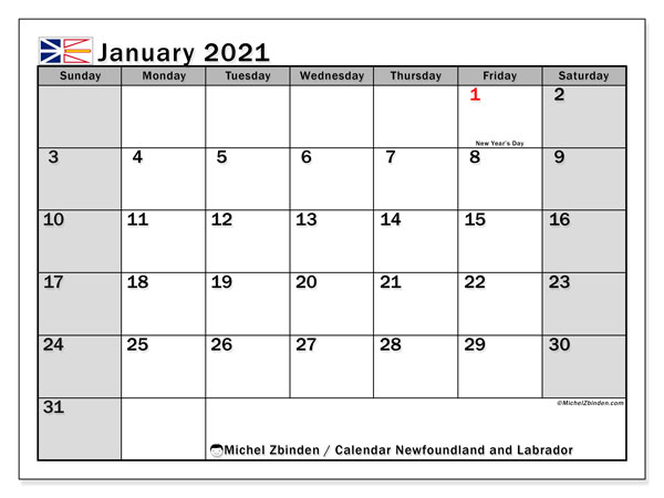 "Printable ""Newfoundland and Labrador"" calendar with public holidays. Monthly January 2021 calendar and schedule to print free."
