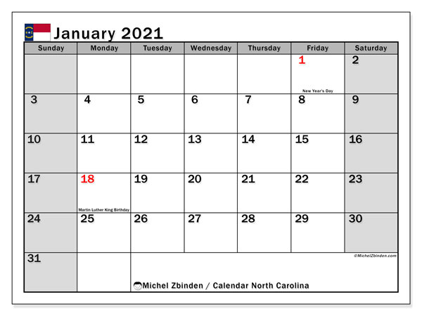 "Printable ""North Carolina"" calendar with public holidays. Monthly January 2021 calendar and free printable planner."
