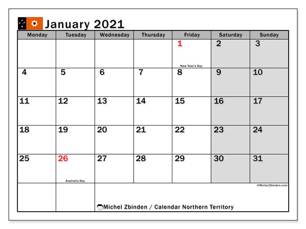 January 2021 Calendar, with the holidays of Northern Territory. Holidays calendar to print free.