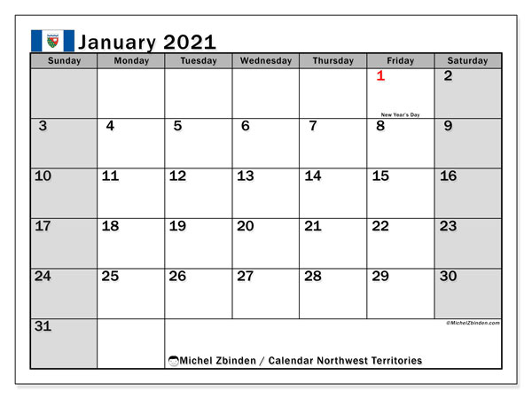 Calendar January 2021 - Northwest Territories. Public Holidays. Monthly Calendar and free printable bullet journal.