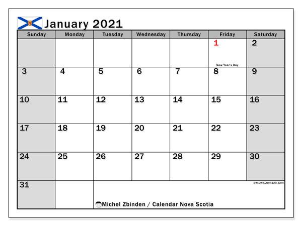 January 2021 Calendar, with the holidays of Nova Scotia. Free printable calendar with public holidays.