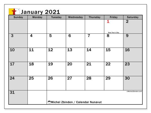 January 2021 Calendar, with the holidays of Nunavut. Free printable calendar with public holidays.